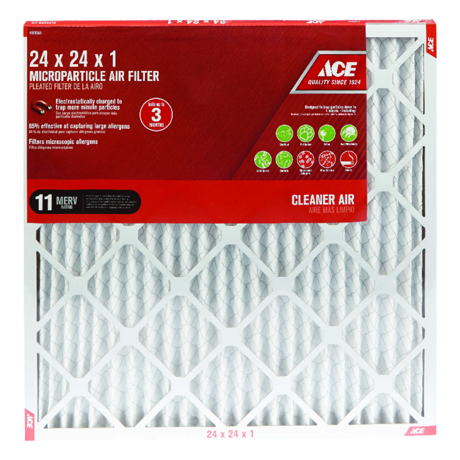 Ace  24 in. H x 24 in. W x 1 in. D Pleated  Microparticle Air Filter
