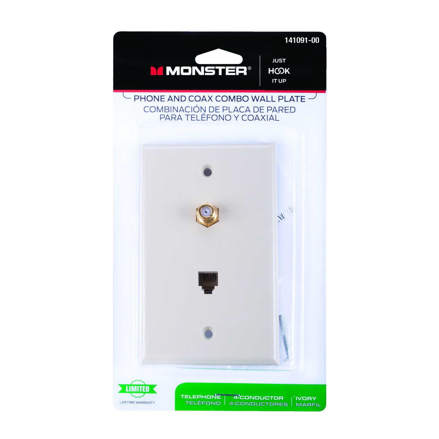 Monster Cable  Just Hook It Up  Ivory  1 gang Coaxial  Wall Plate  1 each Plastic