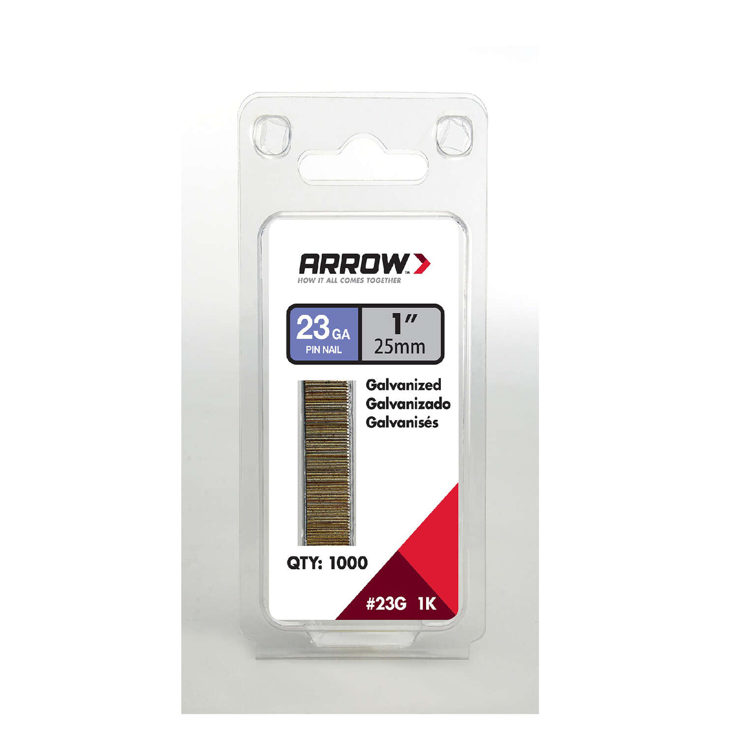 Arrow Fastener 1-1/2 in. 18 Ga. Straight Strip Brad Nails Smooth Shank 1,000 pk