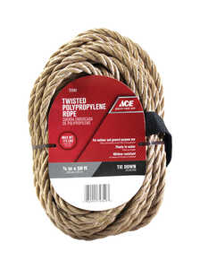 Ace  50 ft. L x 3/8 in. Dia. Twisted  Poly  Rope  Tan