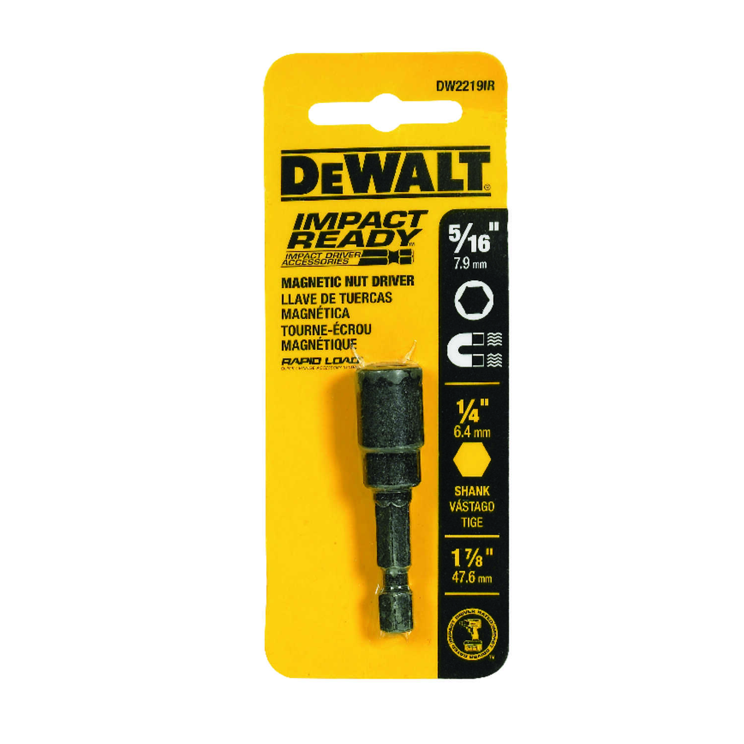 DeWalt  Impact Ready  5/16 in.  x 1-7/8 in. L Black Oxide  Nut Driver  1/4 in. Quick-Change Hex Shan