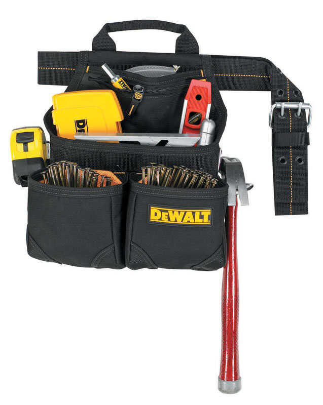 DEWALT By CLC  5.5 in. W x 15.25 in. H Ballistic Polyester  Nail and Tool Pocket Apron  6 pocket Bla