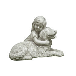 Infinity  Cement  White  12.6 in. Girl and Dog  Statue