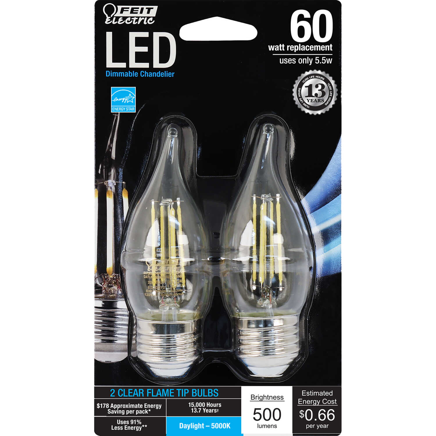 FEIT Electric  Performance  6 watts CA10  LED Bulb  500 lumens Daylight  Chandelier  60 Watt Equival