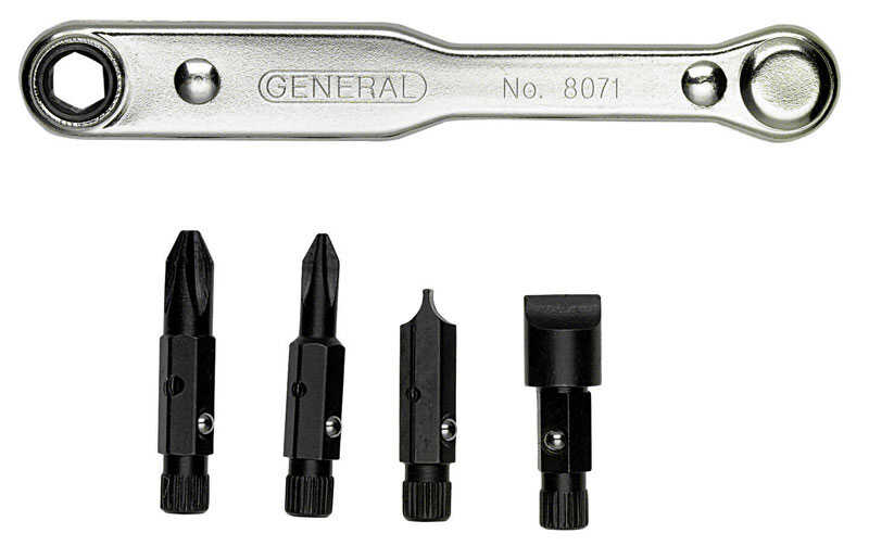 General Tools  5 pc. Ratcheting Offset Screwdriver Set  Steel