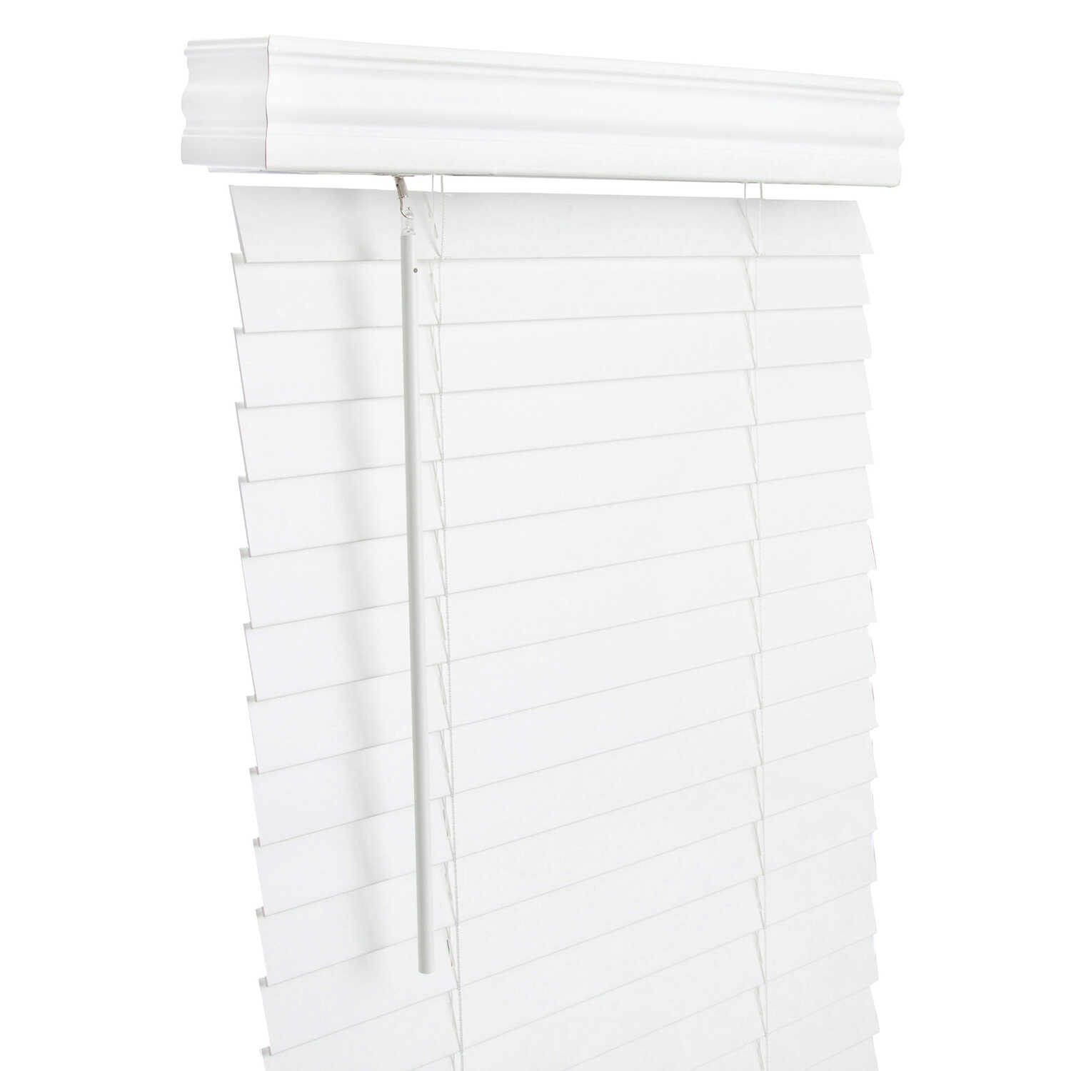 Living Accents  Faux Wood  2 in. Mini-Blinds  30 in. W x 60 in. H White  Cordless