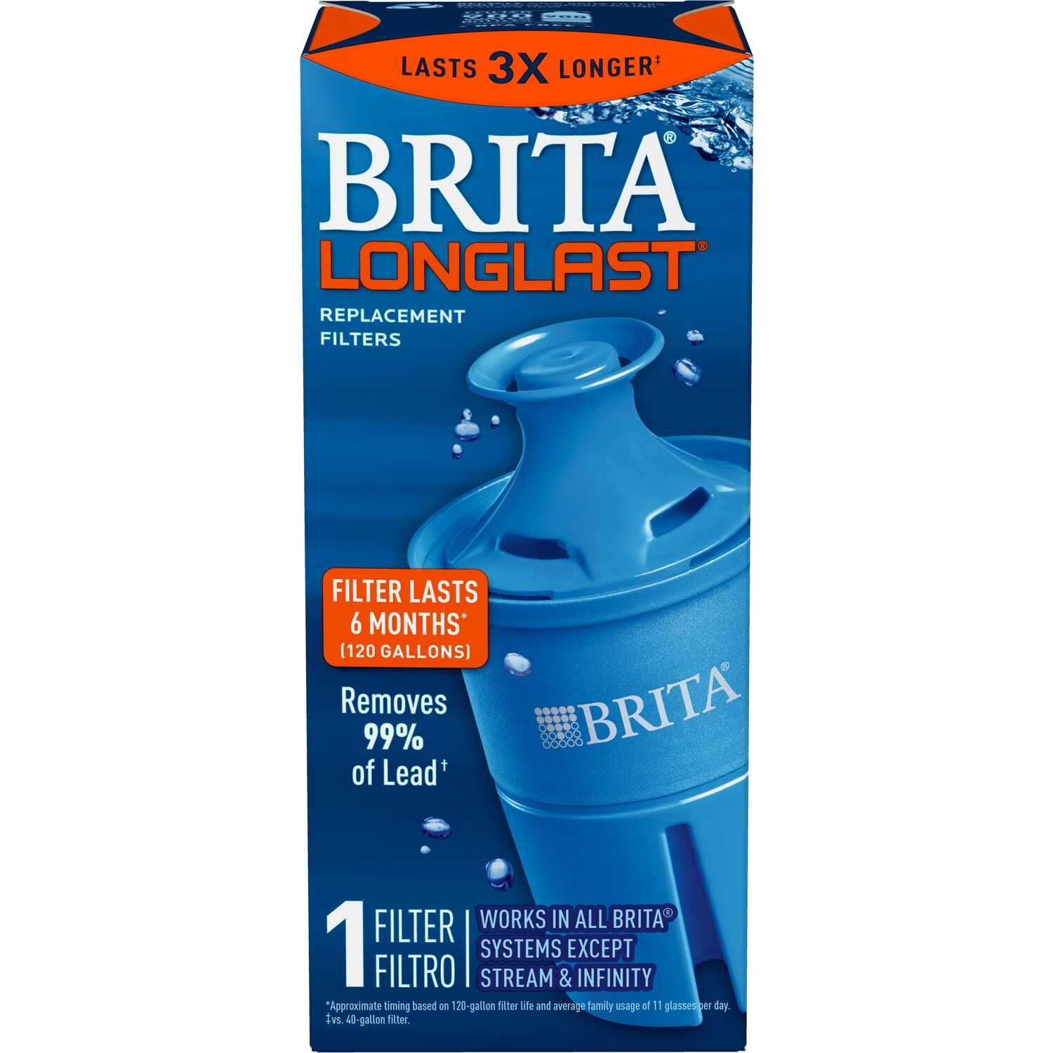 Brita  Longlast  6 months  Blue  Replacement Pitcher Filter
