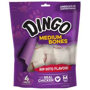 Dingo  Medium  Adult  Rawhide Bone  Beef  5.5 in. L 4 pk