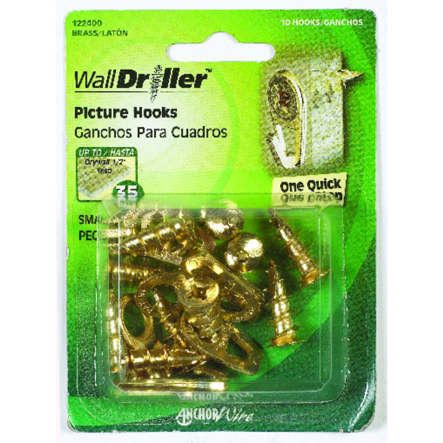 HILLMAN  WallDriller  Brass-Plated  Brass  Drywall  Picture Hook  10 pk 35 lb.