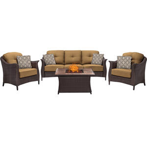 Hanover  Country Cork  4 pc. Java  Steel  Firepit Chat  Firepit Set  Tan