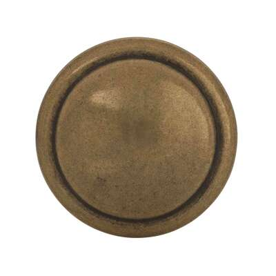Amerock  Allison Value  Round  Cabinet Knob  1-3/8 in. Dia. 1 in. Antique Brass  2 pk