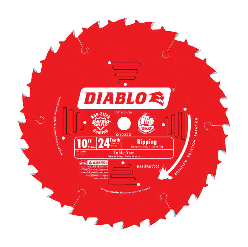 Diablo  10 in. Dia. x 5/8 in.  x 0.098 in.  Carbide Tip  Ripsaw Blade  24 teeth 1 pk