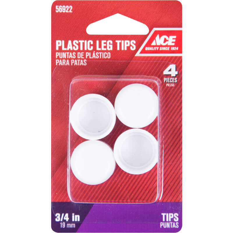 Ace  Plastic  Leg Tip  White  3/4 in. W 4 pk Round