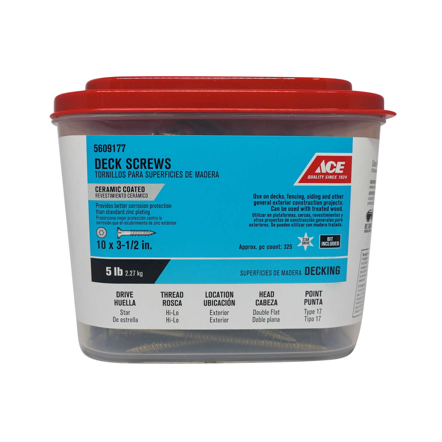 Ace  No. 10   x 3-1/2 in. L Star  Double Flat Head Ceramic Coated  Steel  Premium Deck Screws  5 lb.