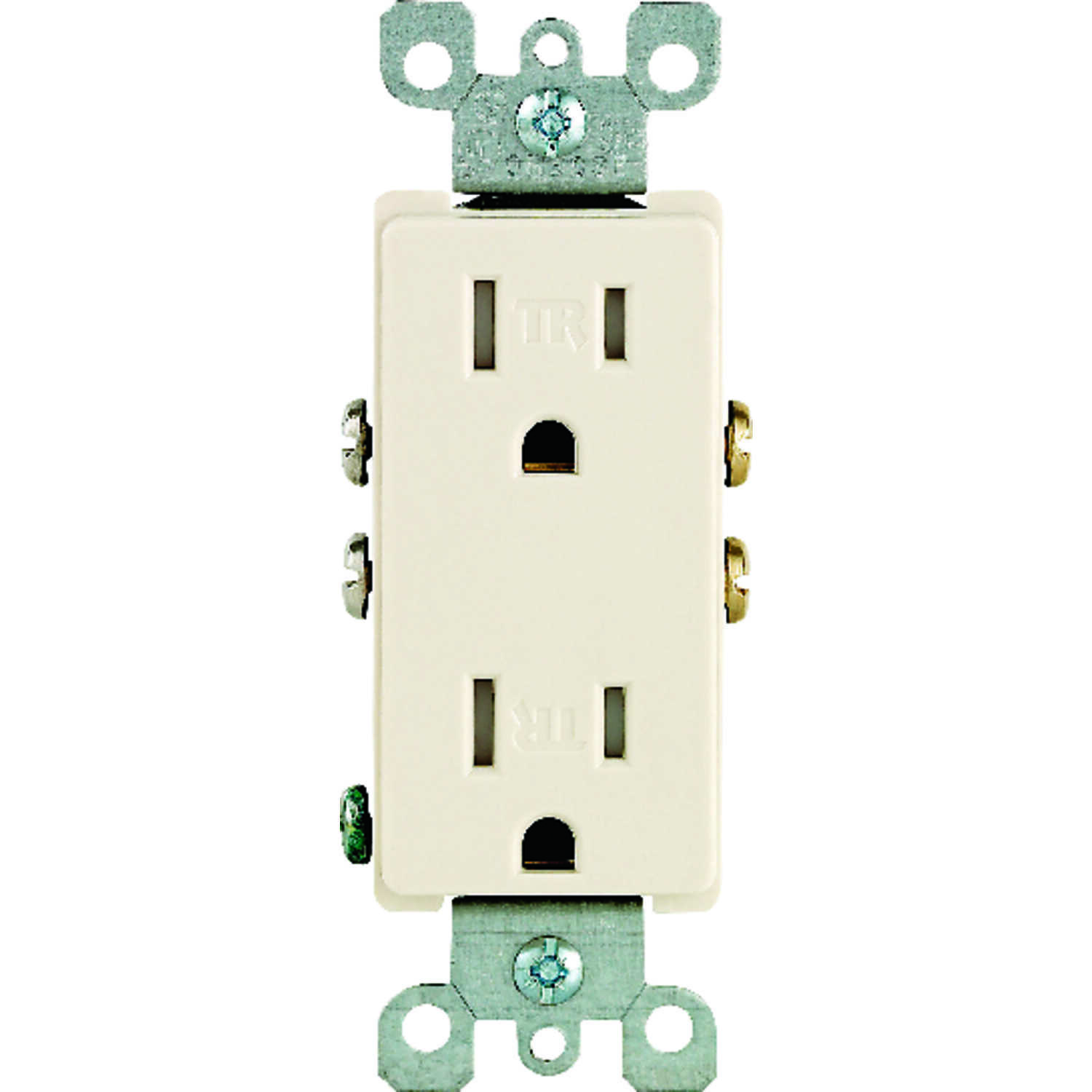 Leviton  Decora  15 amps 125 volt Light Almond  Tamper Resistant Outlet  5-15R  1 pk