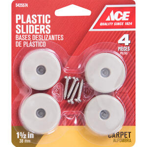 Ace  Plastic  Slide Glide  Off-White  Round  1-1/2 in. W 4 pk
