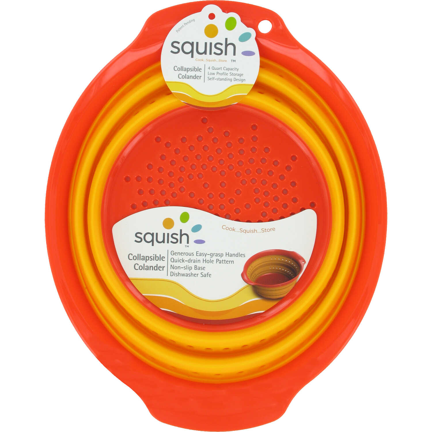 Squish  9-11/16 in. W x 12-3/16 in. L Yellow/Orange  Collapsible Colander