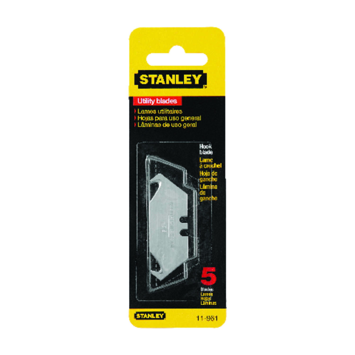 Stanley  2-1/16 in. L x 0.024 in.  Steel  Hook  Replacement Blade  5 pk
