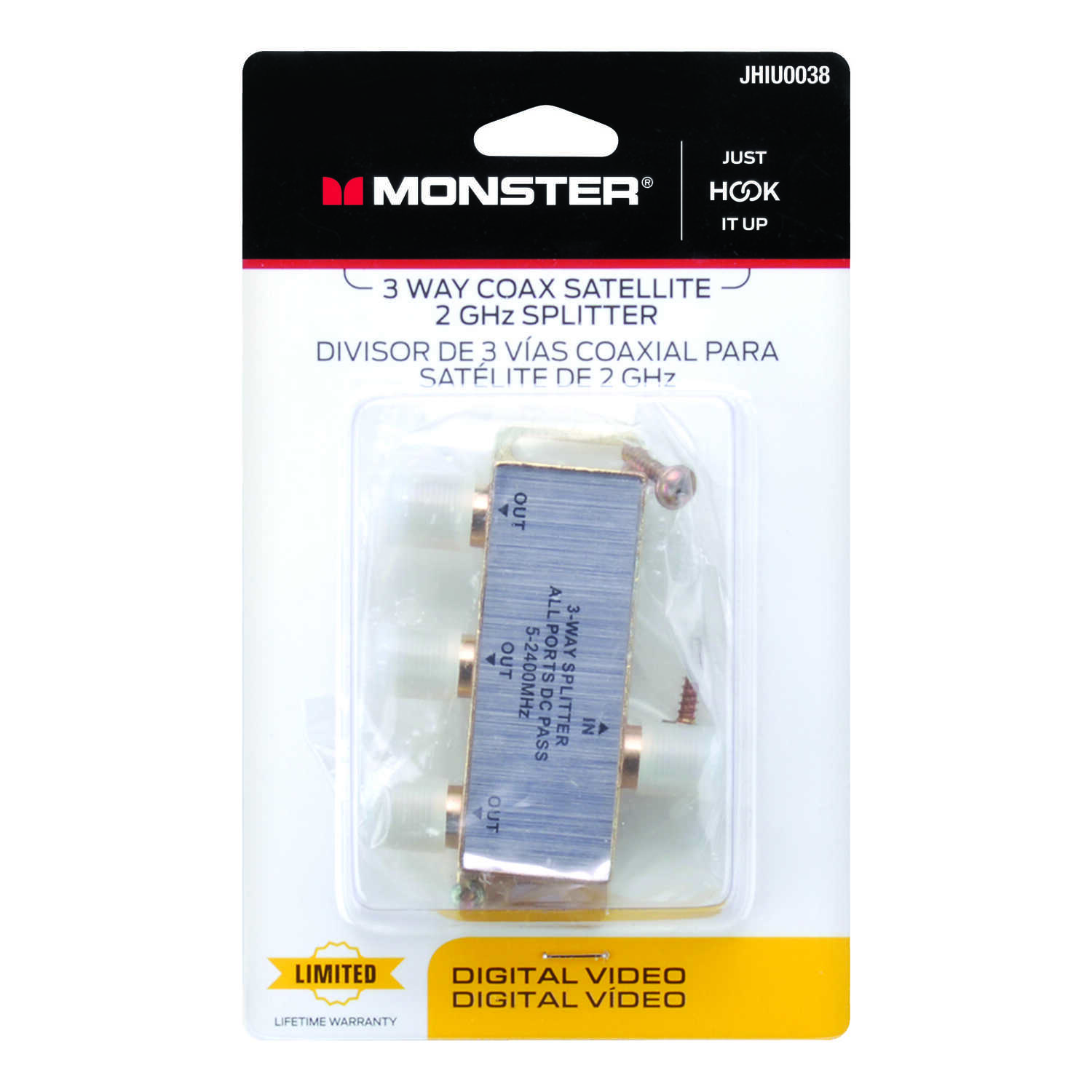 Monster Cable  Just Hook It Up  3 Way Coax Splitter  75 Ohm 2150 mHz 1 each