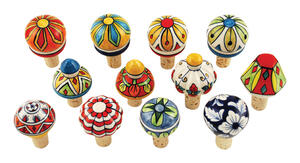Twine  Country Cottage  Multicolored  Ceramic/Cork  Bottle Stopper