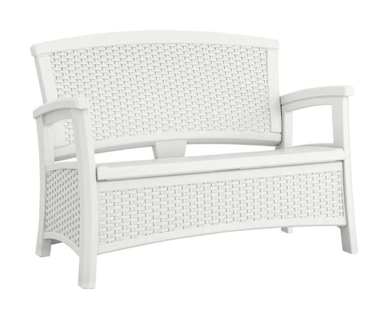 Suncast  Elements  Resin  35-1/2 in. H x 47 in. W x 29.75 in. D White  Storage Seat