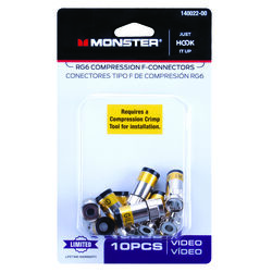 Monster Cable Just Hook It Up Compression RG6 Compression Connector 10 pk