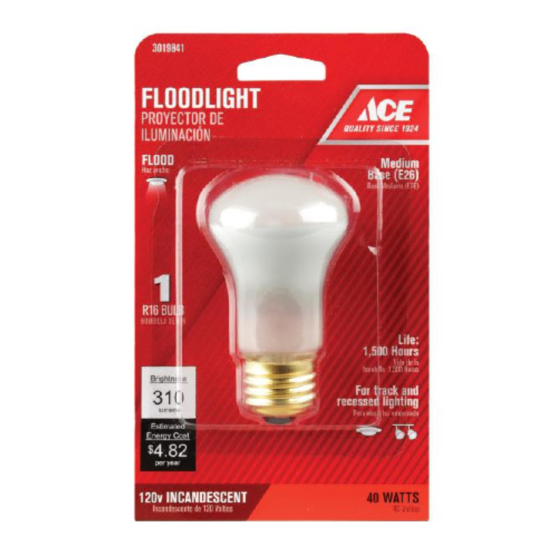Ace  40 watts R16  Floodlight Bulb  310 lumens Soft White  Spotlight  Medium Base  1 pk