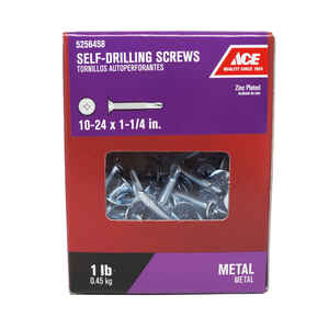 Ace  10-24 Sizes  x 1-1/4 in. L Phillips  Wafer Head Zinc-Plated  Steel  Self- Drilling Screws  1 lb