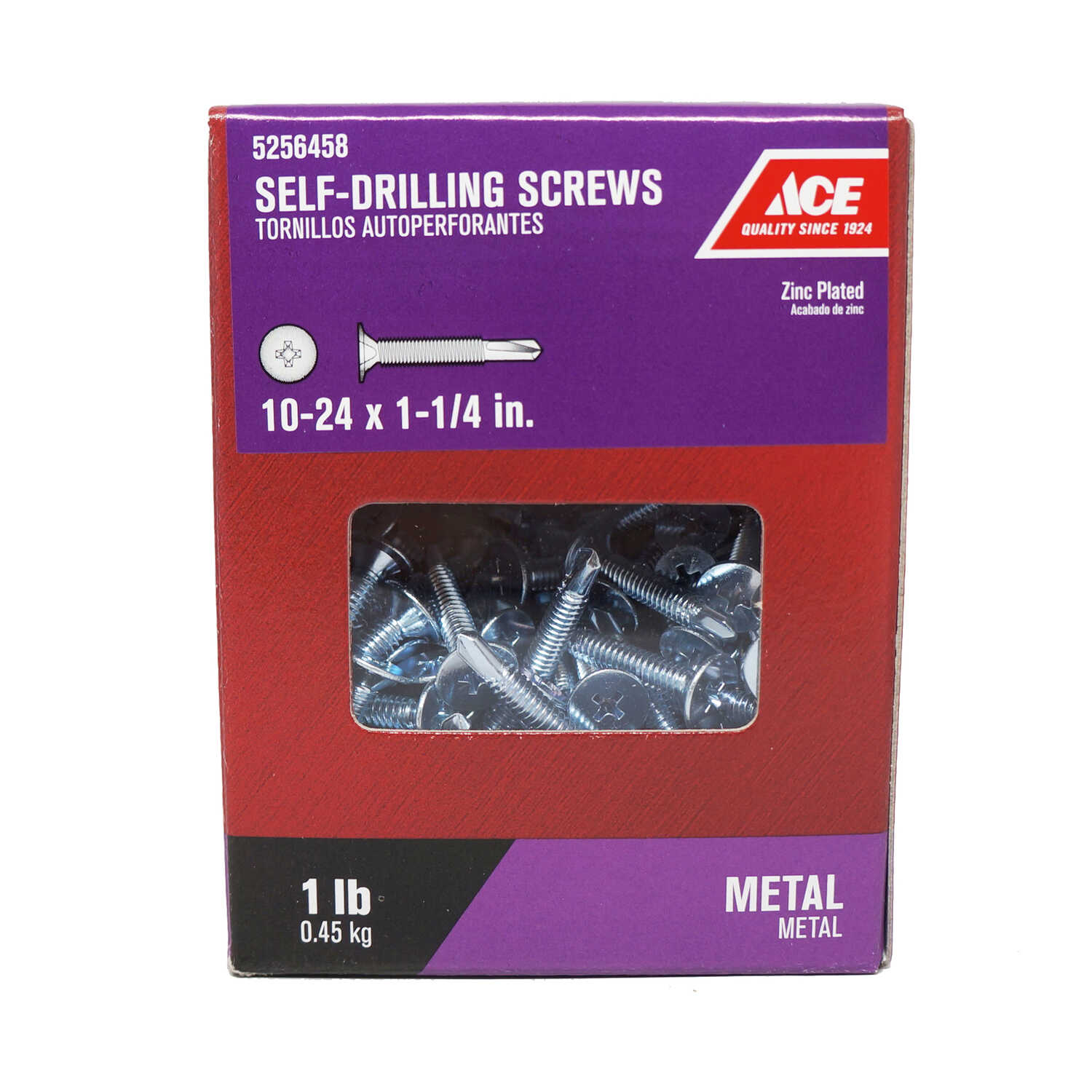 Ace  10-24 Sizes  x 1-1/4 in. L Zinc-Plated  Steel  Self- Drilling Screws  1 lb. Wafer Head Phillips
