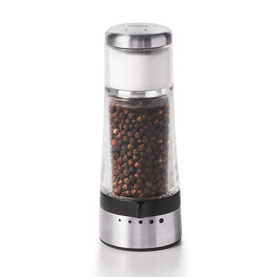 OXO  Good Grips  2 in. W x 2 in. L Clear/Black/Silver  Plastic/Stainless Steel  2-in-1 Salt & Pepper