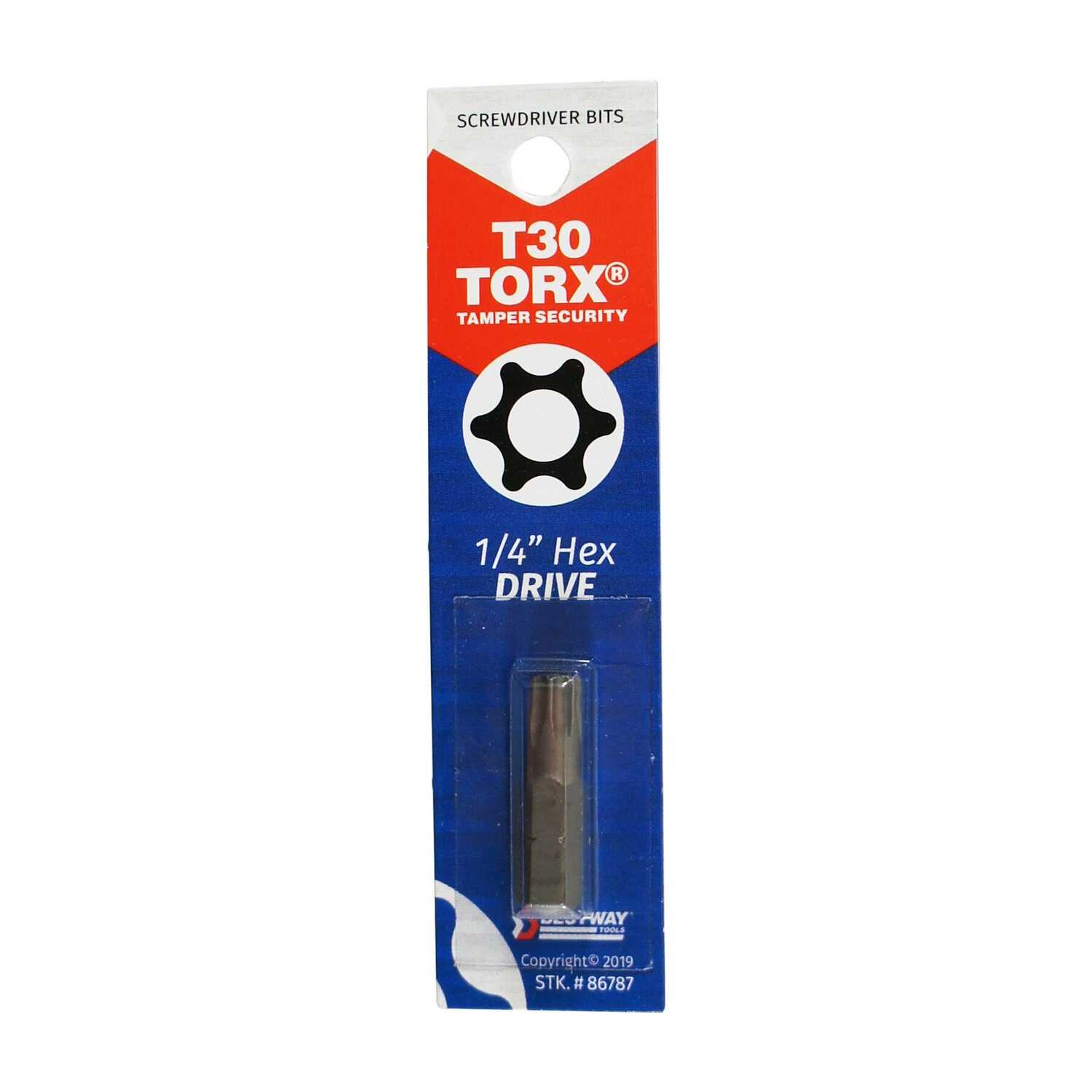 Best Way Tools  1 in. L x T30   Screwdriver Bit  1/4 in. Hex  TORX Tamperproof Bit  1 pc.