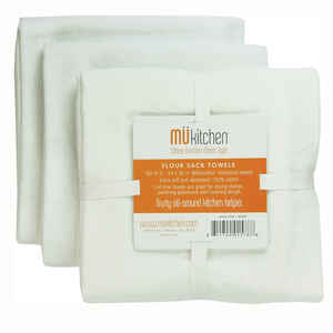 Mu Kitchen  White  Cotton  Flour Sack Towel  3 pk