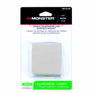Monster Cable Single Telephone Line Surface Mount Jack 4 Conductor Modular Ivory Card