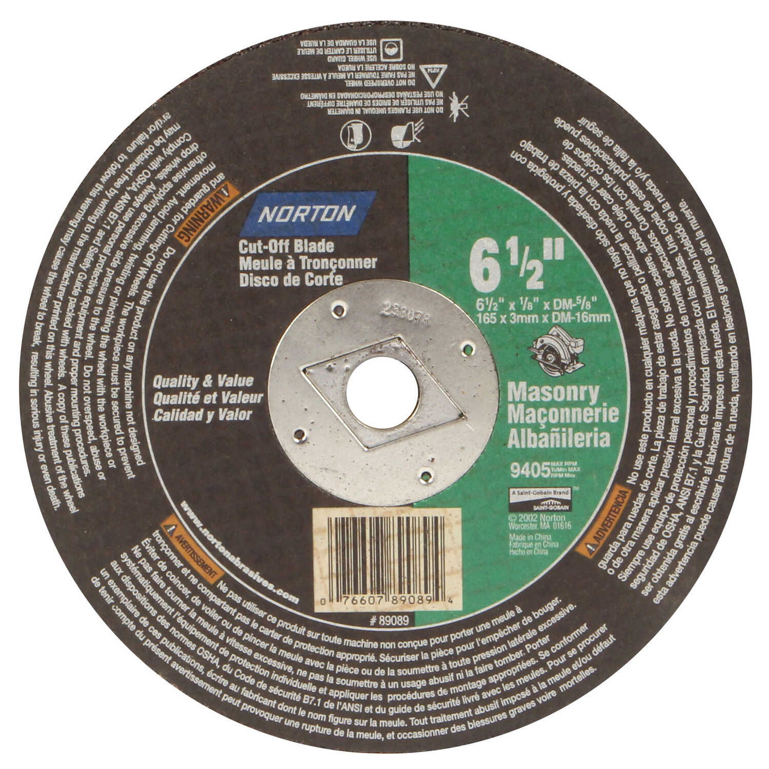 Norton  6-1/2 in. Silicon Carbide  Cut-Off Wheel  1/8 in.  x 5/8 in.  1 pc.