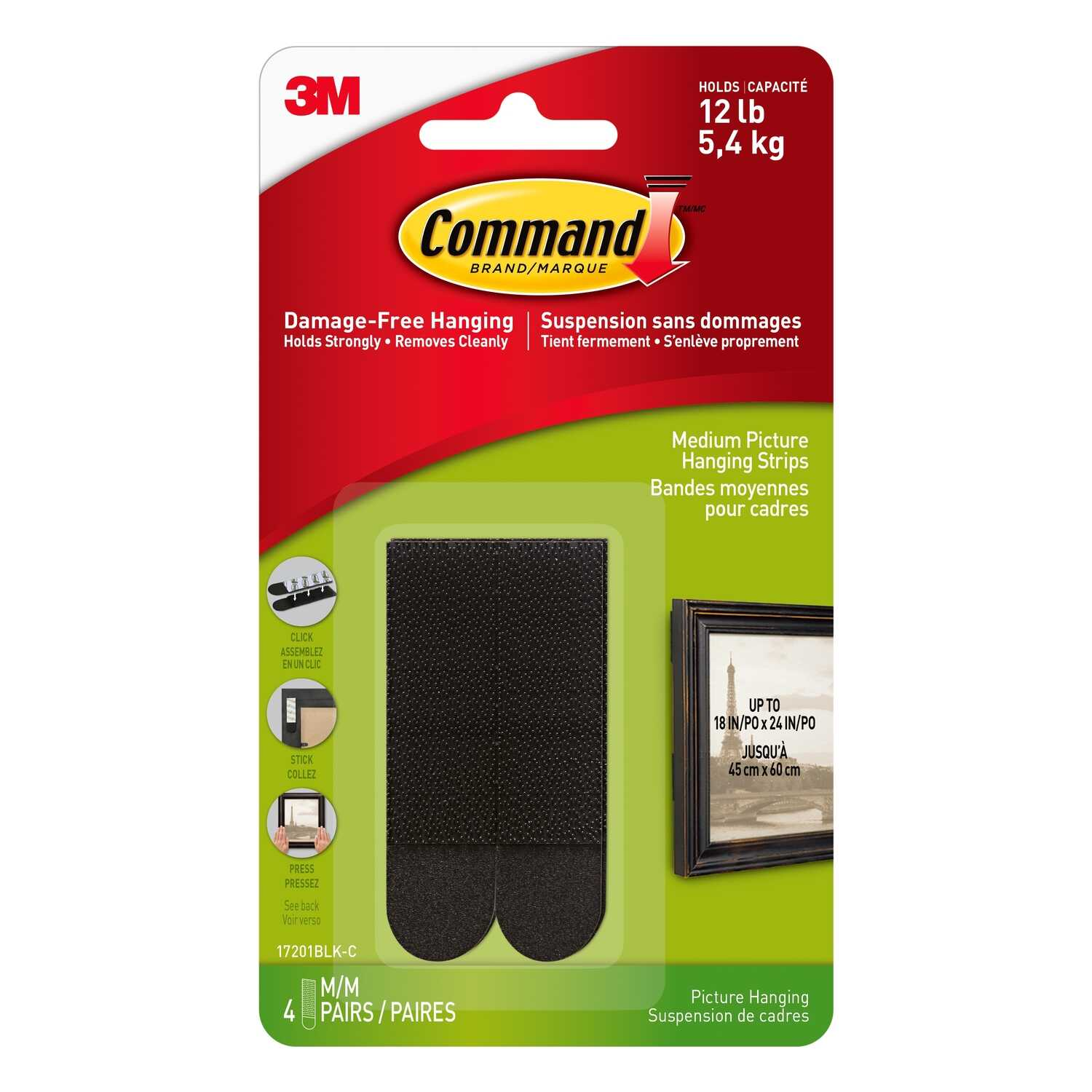 3M  Command  Black  Foam  Adhesive Strips  12 lb. 8 pk