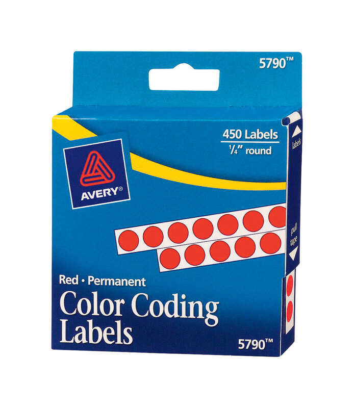 Avery  1/4 in. H x 1/4 in. W Red  Color Coding Label  450 pk