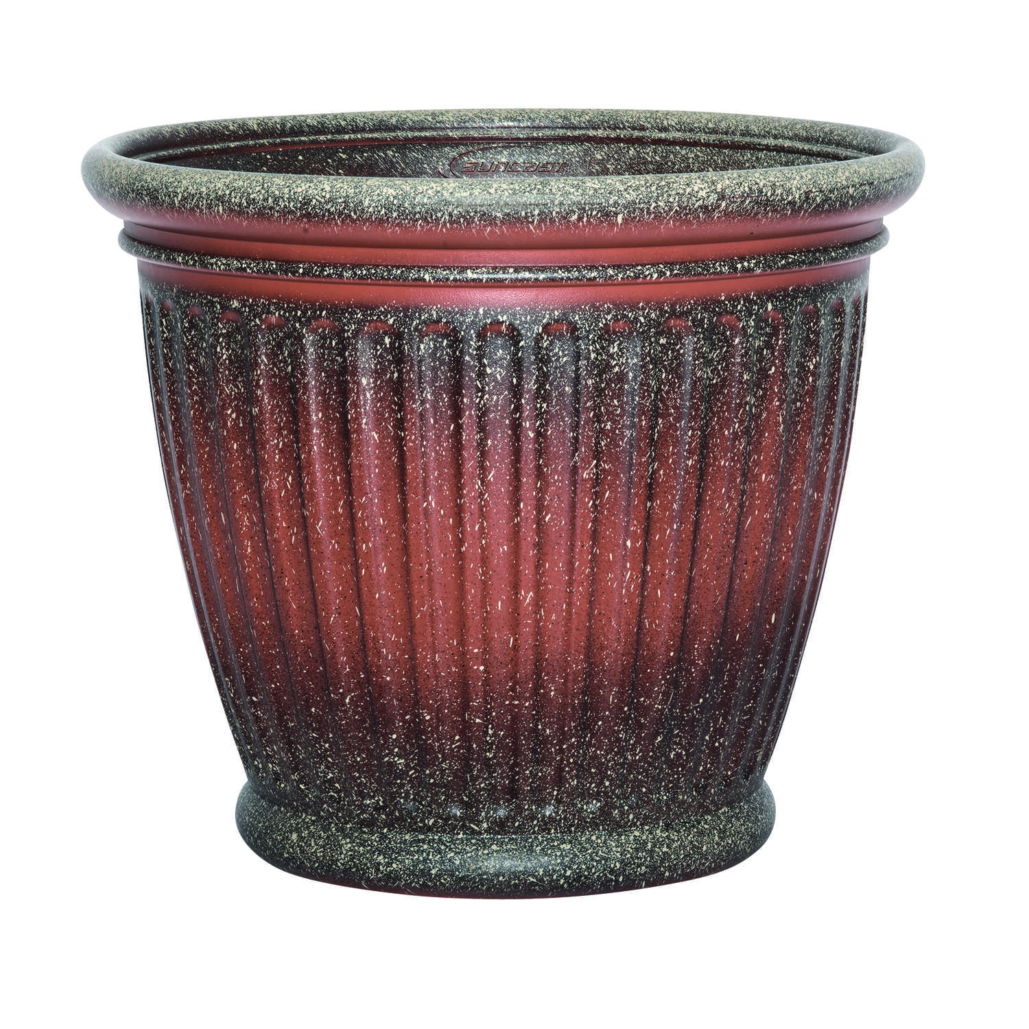 Suncast  Capital  16 in. H x 18 in. W Resin  Planter  Two-Tone Brown and Red