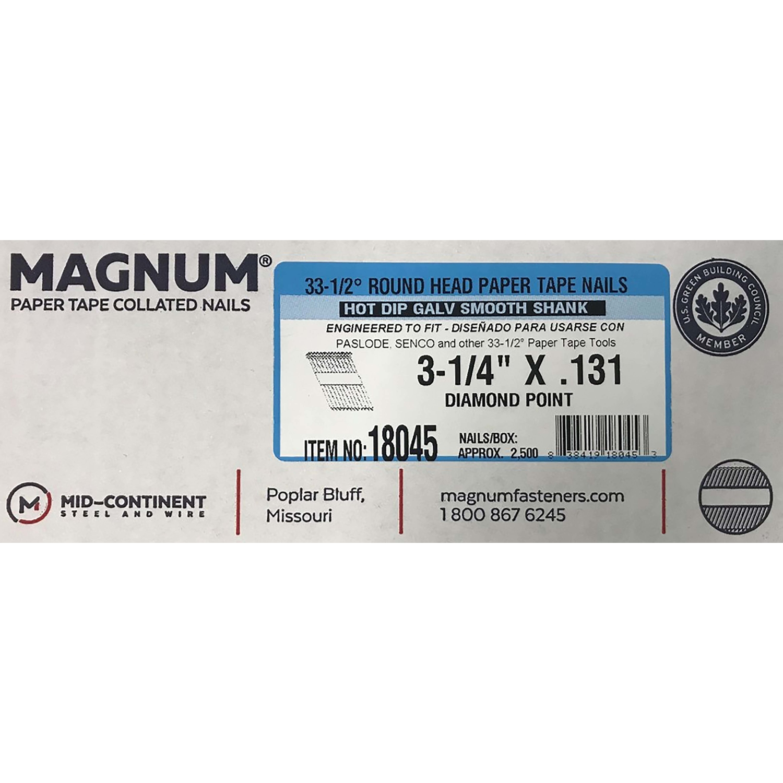 Ring Shank  2500 pk Magnum  3 in Angled Strip  Nails  33-1//2 deg