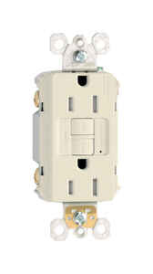 Pass & Seymour  15 amps 125 volt Almond  GFCI Outlet  5-15R  1 pk