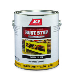 Ace  Rust Stop  Indoor and Outdoor  Gloss  Safety Yellow  Rust Prevention Paint  1 gal.