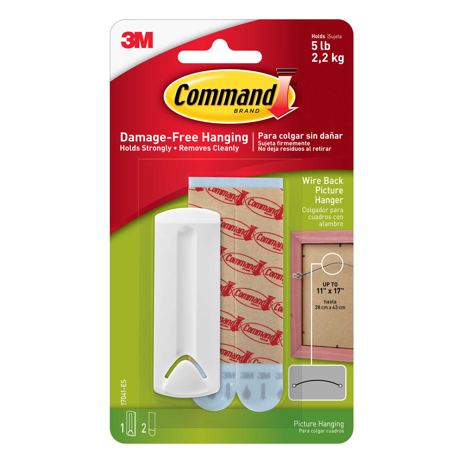 3M  Command  Plastic Coated  White  Plastic  Wire Backed Picture Hanger  5 lb. 1 pk