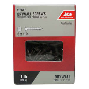 Ace  No. 6   x 1 in. L Phillips  Bugle Head Black Phosphate  Steel  Drywall Screws  1 lb. 339 pk