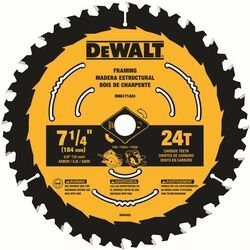 DeWalt  7-1/4 in. Dia. x 5/8 in.  Tungsten Carbide Tipped  Circular Saw Blade  24 teeth 1 pk