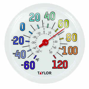 Taylor  Decorative  Dial Thermometer  Plastic  Multicolored
