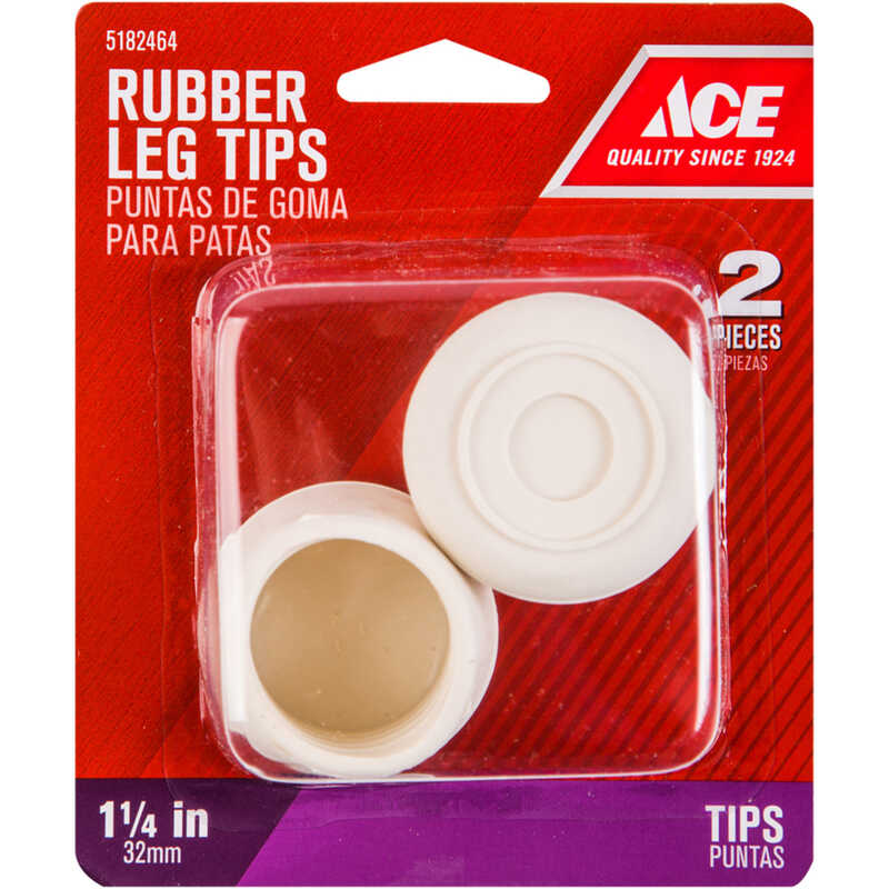 Ace  Rubber  Leg Tip  Off-White  Round  1-1/4 in. W 2 pk