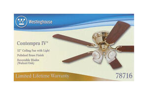 Westinghouse  Contempra IV  52 in. 5 blade Indoor  Polished Brass  Ceiling Fan