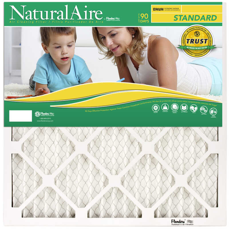 Flanders  NaturalAire  14 in. W x 20 in. H x 1 in. D Polyester Synthetic  Pleated Air Filter