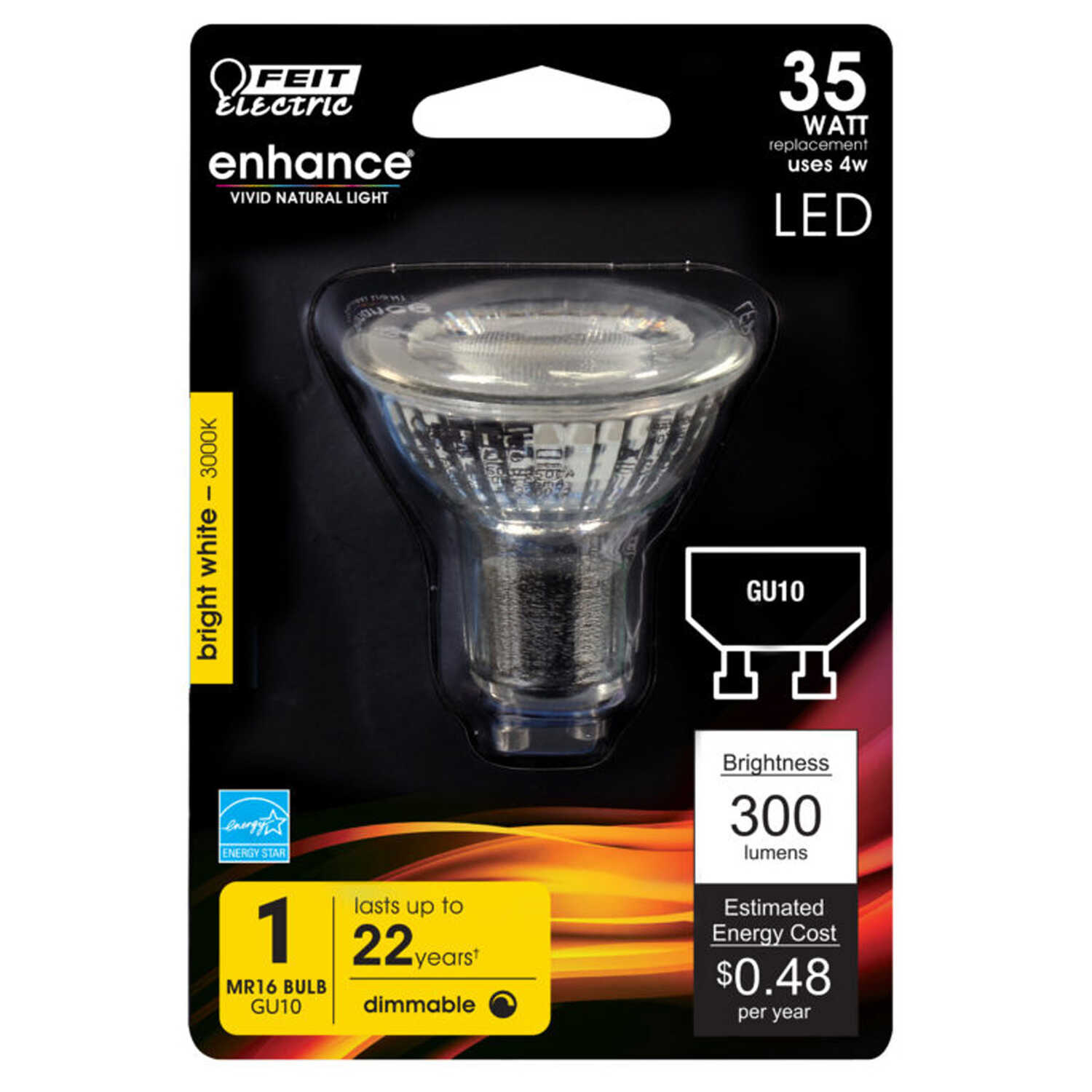 FEIT Electric  4.1 watts MR16  LED Bulb  350 lumens Reflector  35 Watt Equivalence Warm White