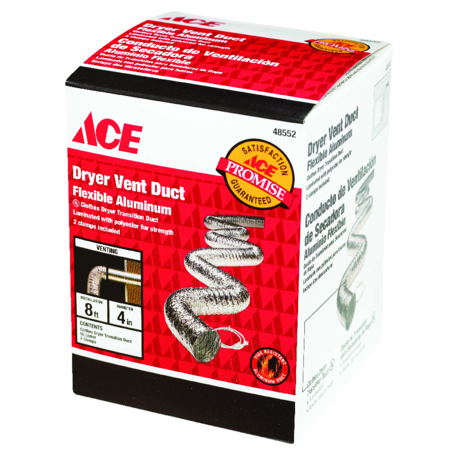 Ace 4 In Dia X 8 Ft L Silver White Aluminum Dryer Vent Duct Push Fuse Box House For