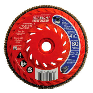Diablo  Steel Demon  4-1/2 in. Dia. x 5/8 in.   Ceramic  Thread Arbor Flap Disc  80 Grit 12000 rpm 1